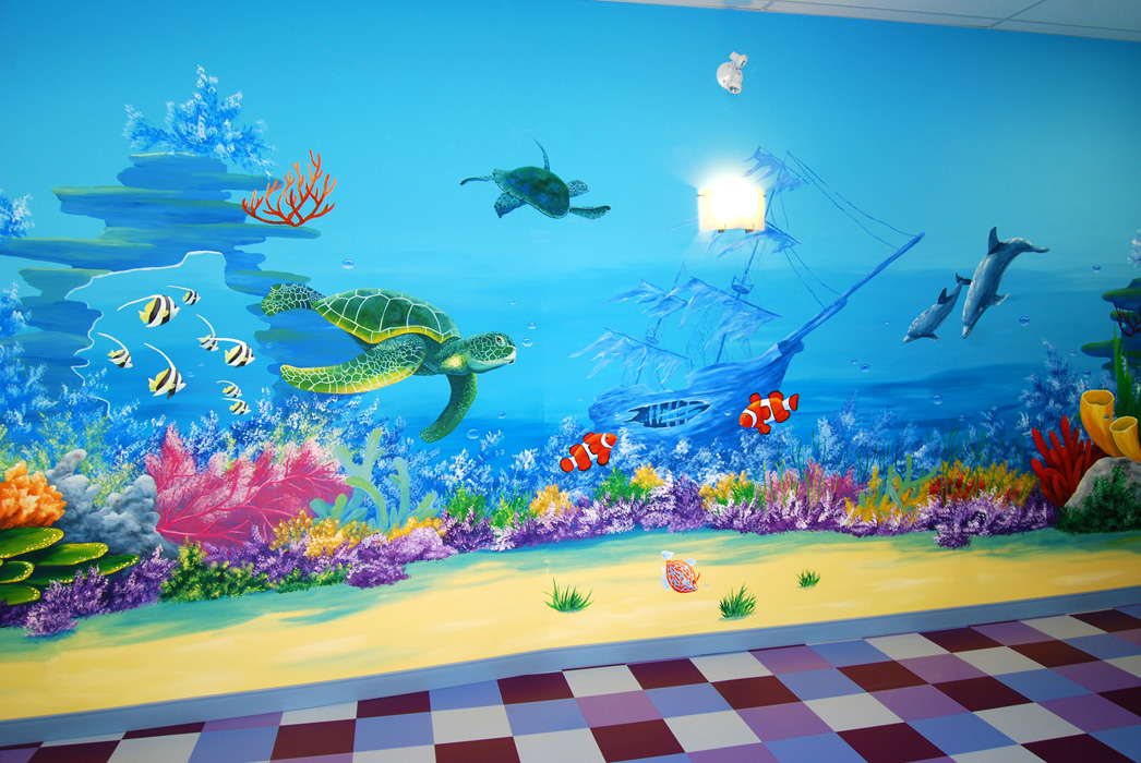 commercial murals painting with olga ForCoral Reef Mural