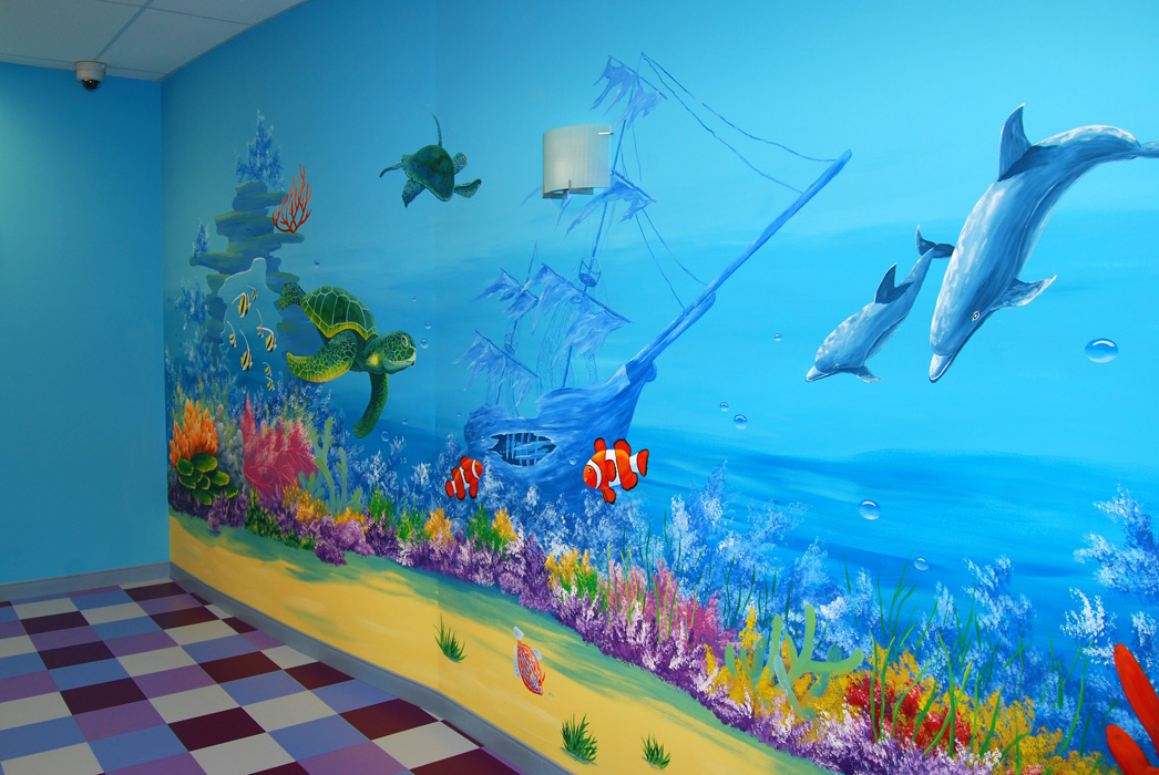 Commercial murals painting with olga for Coral reef mural