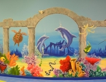 Under the sea mural with dolphins