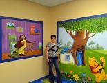 Winnie the Pooh Mural with Owl