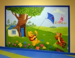 Winnie the Pooh Mural with a kite