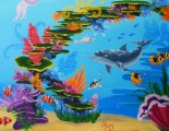 Coral reef mural with dolphin and treasure chest