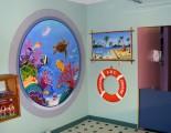 Trompe-l'oeil submarine window and lifebuoy